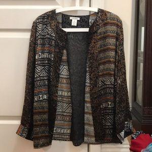 Laura Ashley silk Aztec print cardigan size L